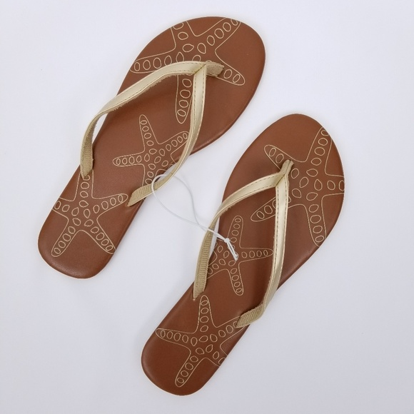 92d41428601 Sun   Sky Brown Gold Starfish Zori Flip Flops 9 10